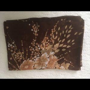 Brown floral print shawl/scarf